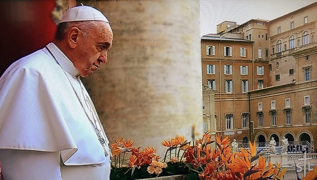 Pope Francis overlooking the square